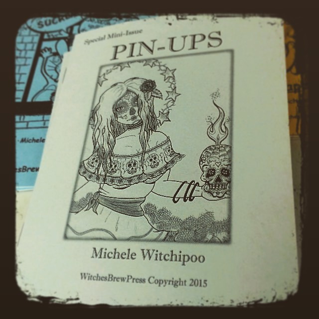 Pin-Ups, a mini sketchbook drawn by Michele Witchipoo, on WitchesBrewPress. Released Spring 2015.