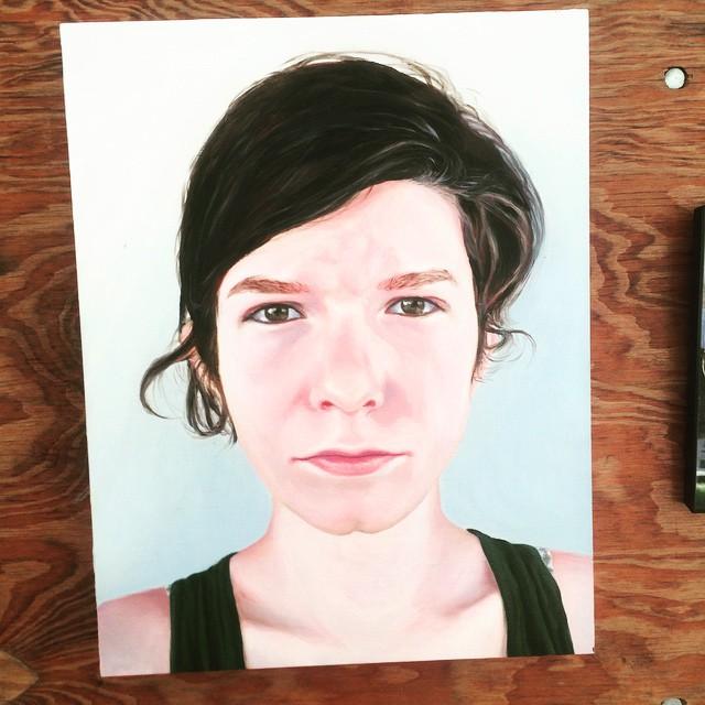 Artist Emily Roff's painting, as part of the Ridgewood Represent! exhibit at The Vander-Ende Onderdonk House, June 2015. Part of the Bushwick Open Studios 2015.
