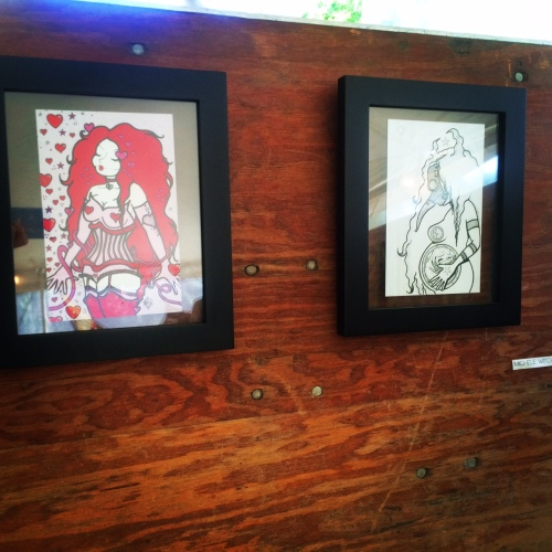 Artist Michele Witchipoo's drawings, as part of the Ridgewood Represent! exhibit at The Vander-Ende Onderdonk House, June 2015. Part of the Bushwick Open Studios 2015.