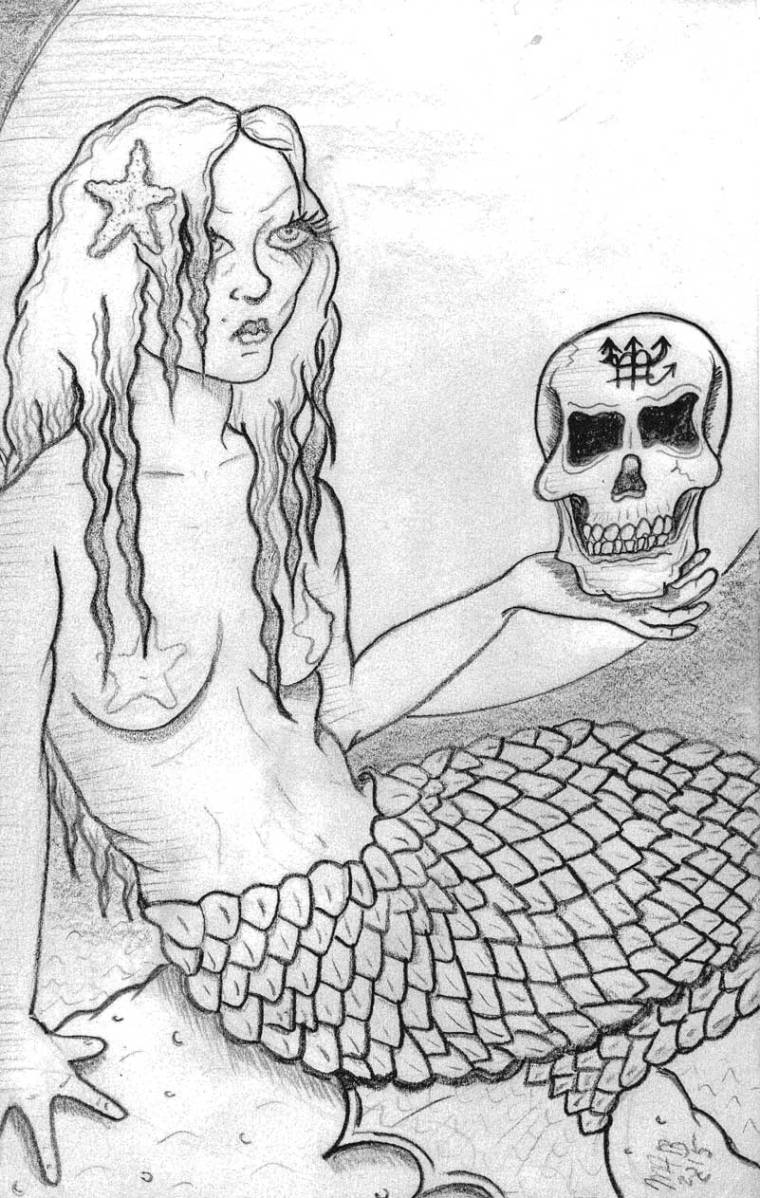 Mermaid 2015. Pencil sketch by Michele Witchipoo, June 2015.