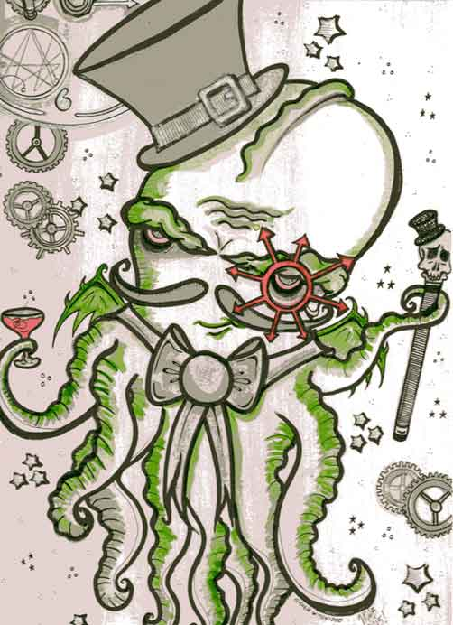 Steampunk Cthulhu illustrated by Michele Witchipoo, 2015. Ink, brush, ink wash, watercolor on illustration board.