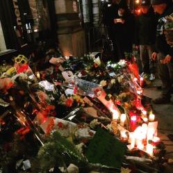 January 12th, 2016. Me and my friend went to visit the apartment building Bowie lived in NYC. People were leaving flowers, candles, etc. peaceful, quiet. (at 285 Lafayette Street.)