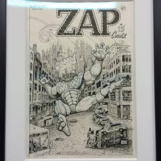 Artist Gilbert Shelton Zap#15. Zap Comics retrospective inside The Society of Illustrators. April 2016.