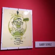 Artist Gabby Schultz. Inside on display inside The Society of Illustrators building.