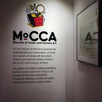 Inside The Society of Illustrators, explaining MoCCA.