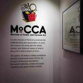 Inside The Society of Illustrators, explaining MoCCA.
