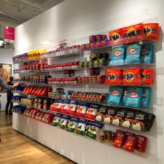 Artist Lucy Sparrow recreated food packages using felt, cotton and acrylic. Affordable Art Fair. April 2016. Photo by Michele Witchipoo.