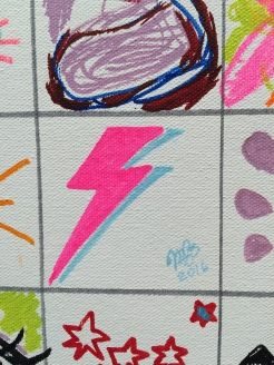 A scribble I did at the Affordable Art Fair. An Aladdin Sane bolt. April 2016.