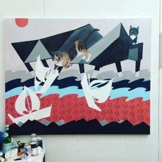 Artist Jaclyn Brown at 1717 Troutman during Bushwick Open Studios 2016.