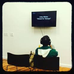 Checking out a video at Art from the OUTPOST Artists Resources / Made In Ridgewood exhibit for Bushwick Open Studios 2016