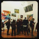 Crowd at OUTPOST Artists Resources opening night for Made In Ridgewood exhibit for Bushwick Open Studios 2016