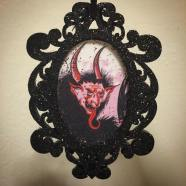Black glitter Krampus ornament created by Michele Witchipoo, Nov. 2016.