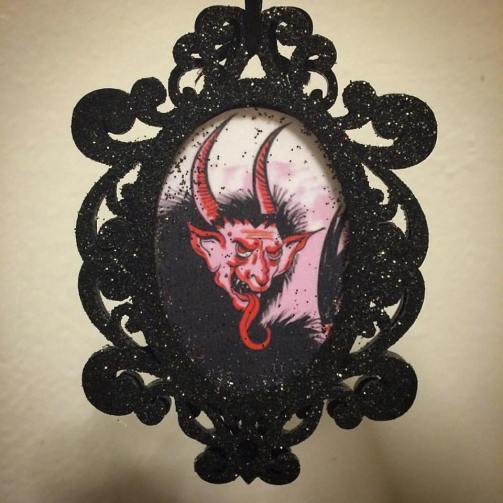 Black glitter Krampus ornament created by Michele Witchipoo, Nov. 2016.