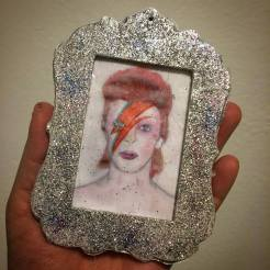 Glitter David Bowie (Aladdin Sane era) ornament created by Michele Witchipoo, Nov. 2016.