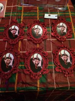 Red glitter Krampus ornaments created 2015.