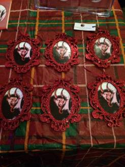 Red glitter Krampus ornaments created 2015.