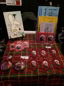 Table display including Krampus ornaments from Dec. 2015.