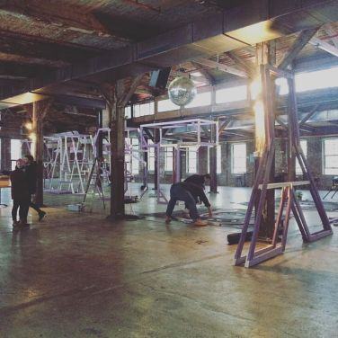 Building the display for the Nasty Women art exhibition at Knockdown Center in Queens, NYC. Photo by Michele Witchipoo. Jan. 2017.
