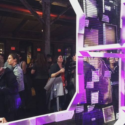 Crowd at opening reception at Knockdown Center for the Nasty Women art exhibition. Jan. 2017. Photo by Michele Witchipoo.