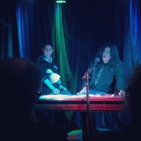 """Jaz Coleman answers questions from audience members May 14th, 2019 during his """"Off On A Tangent"""" spoken word event in NYC. At the venue Berlin NYC."""